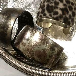2 wide bangle bracelets & 1 cheetah print cuff